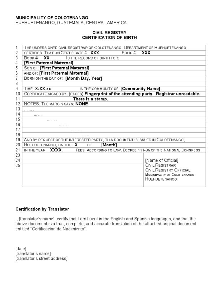 Daca birth certificate translation template choice image birth certificate translation template english to spanish images daca birth certificate translation template gallery certificate guate yadclub Gallery
