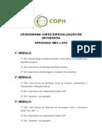 Cronograma Ortodontia Especializacao Facoph