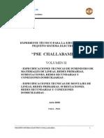 Especificaciones técnicas Suministro y Montaje  PSE CHALLABAMBA