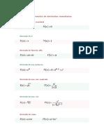 Fórmulas de derivadas inmediatas