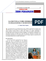 «La escuela como herramienta globalizadora y homogeneizadora» por Noemí Peña Trapero