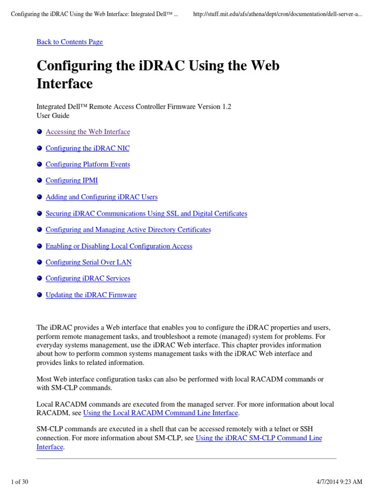 Configuring the iDRAC Using the Web Interface | Active