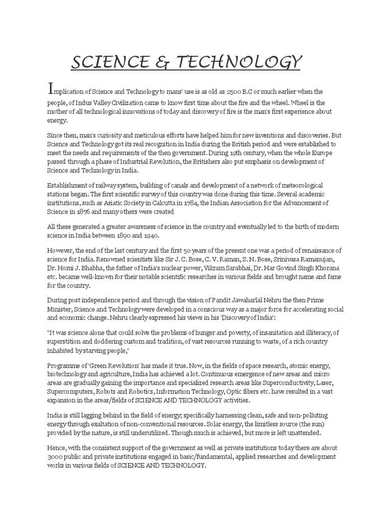 essay on scientific development in india  science and technology in  essay on scientific development in india