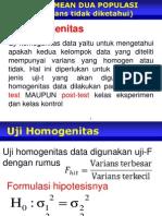 Uji Homogenitas