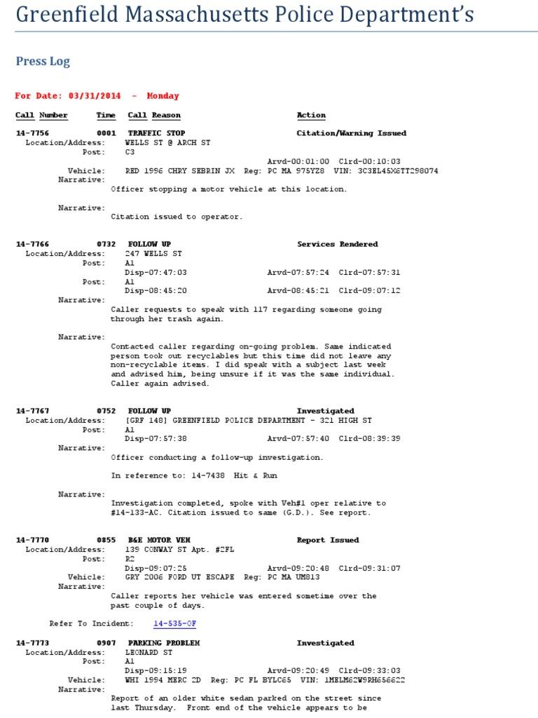 Greenfield Mass Police Log 03312014 Through 0406014 | 9 1 1