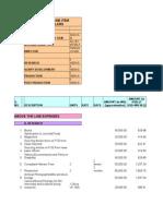 Comprehensive Line Item Budget in Us Dollars