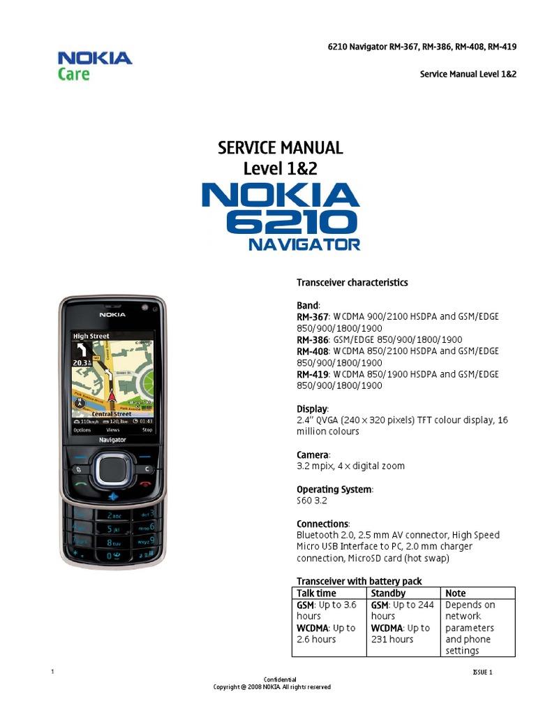 nokia 6210n rm 367 rm 368 rm 408 rm 419 service manual 1 2 rh scribd com