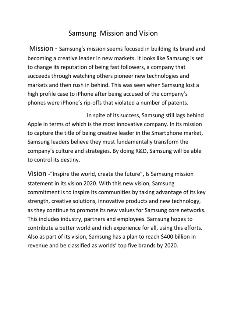 Samsung Mission And Vision Samsung Electronics Smartphone