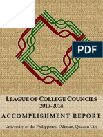 League of College Councils (LCC) Accomplishment Report for the Academic Year 2013-2014