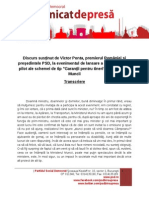 Transcriere Discurs - Presedinte PSD Victor Ponta - Ministerul Muncii - 05.02.2014