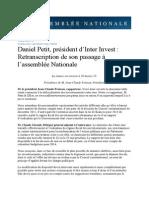 Daniel Petit President Inter Invest a Lassemblee Nationale