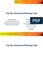 Top Six Advanced Planning Tips