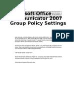 Communicator 2007 Group Policy Settings