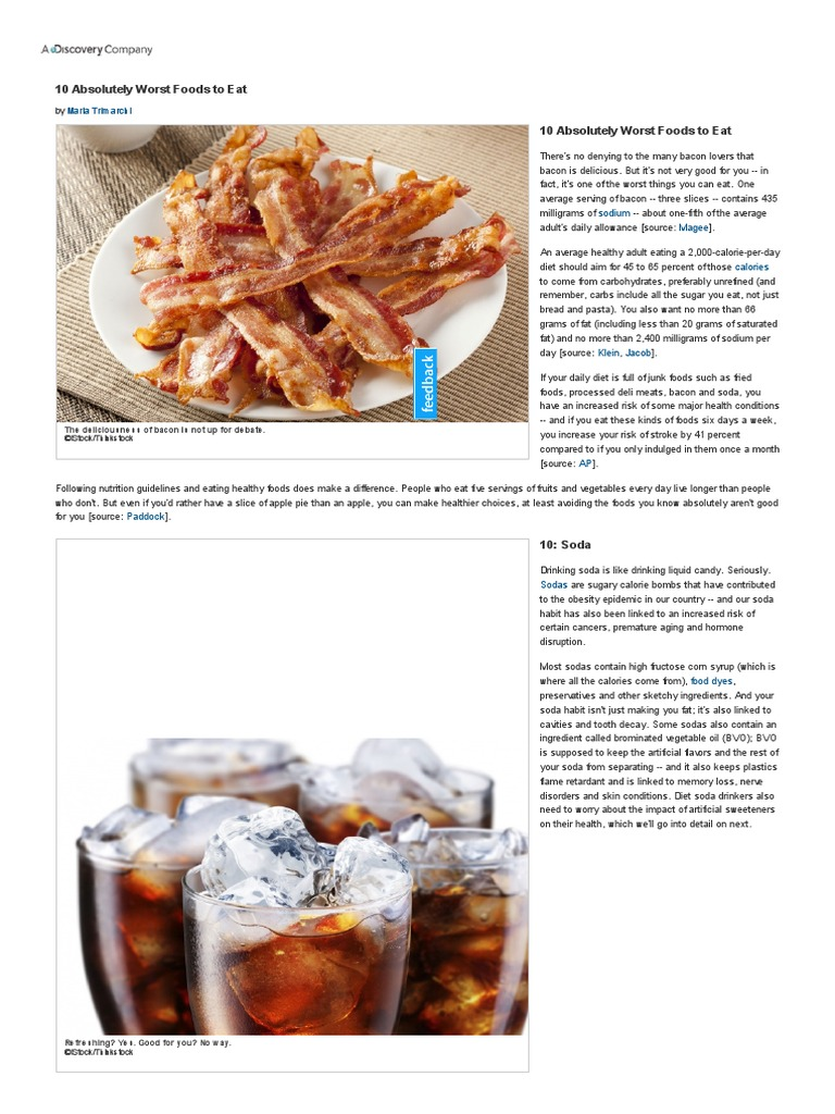 HowStuffWorks _10 Absolutely Worst Foods to Eat_.pdf | Sugar Substitute |  Soft Drink