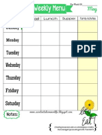 Weekly Menu Plan Printable- May Theme