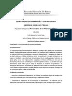 Programa de Planeamiento de las Relaciones Públicas en la UNLAM. 2014