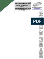 Consulplan 2007 Cepisa Auxiliar Operacional Operador de Subestacao Prova