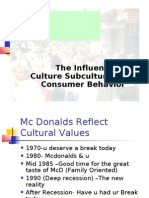 The Influence of Culture Subculture on Consumer Behavior