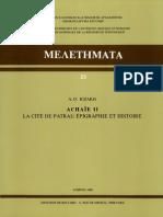 Achaie II la cité de Patras épigraphie et histoire