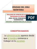 Administracion en Salud Charla Primera Segundo Semestre 2012