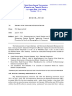 Financial Services Committee Memo for Hearing on April 9, 2014