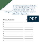 Oferta participării la competițiile de fotbal în cadrul campiontului  Colegiului Financiar