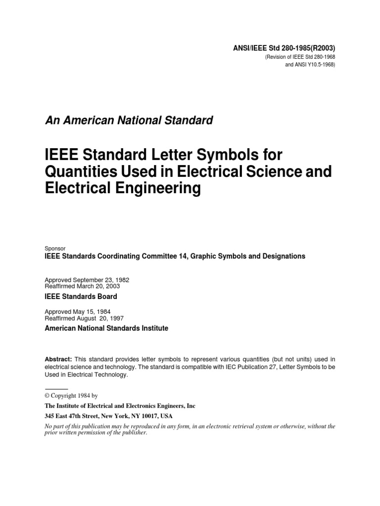 Ieee Standard Letter Symbols For Quantities Used In Electrical