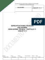 ESPECIFICACIONES TECNICAS  AISLADORES