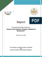 Jammu and Kashmir Dispute Models for Resolution