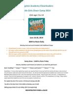 LIttle Girls Camp Registration 2014