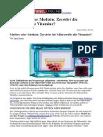 Zerstört die Mikrowelle Vitamine