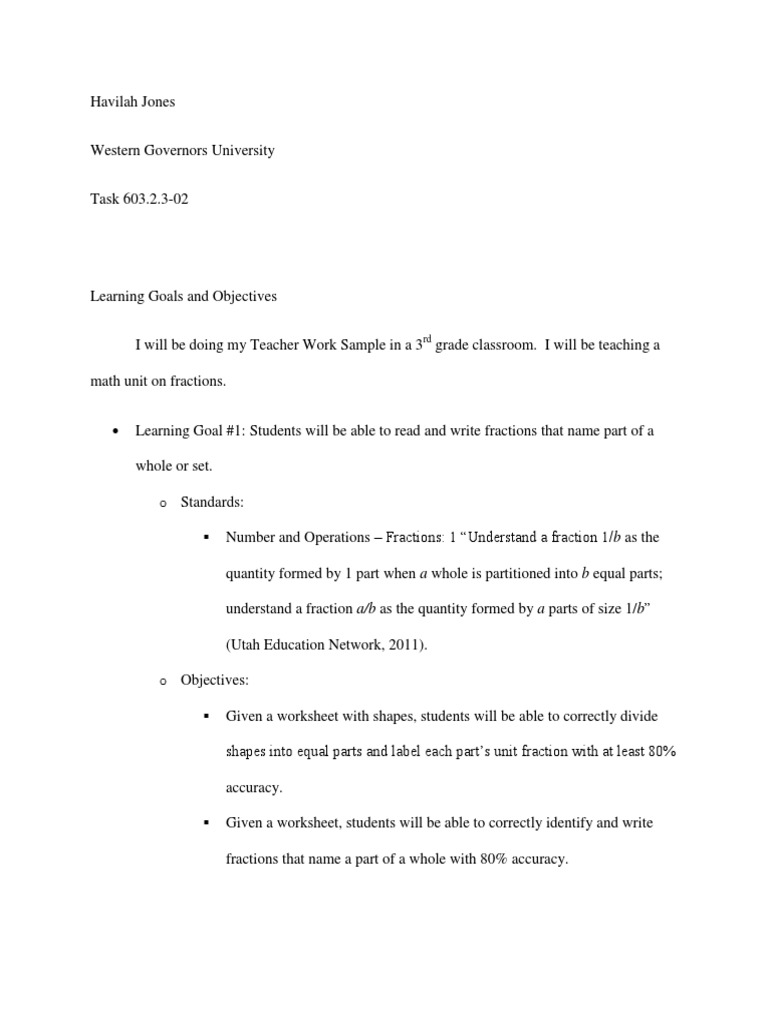 learning goals and objectives Fraction Mathematics – Goals and Objectives Worksheet