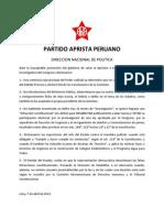 APRA - Comunicado Dirección Política