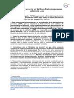 FEPUC sobre el proyecto ley de Unión Civil entre personas del mismo sexo