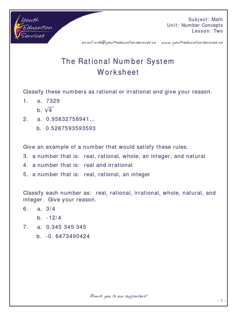 Rational Irrational Numbers Number System Numbers – Rational and Irrational Numbers Worksheet