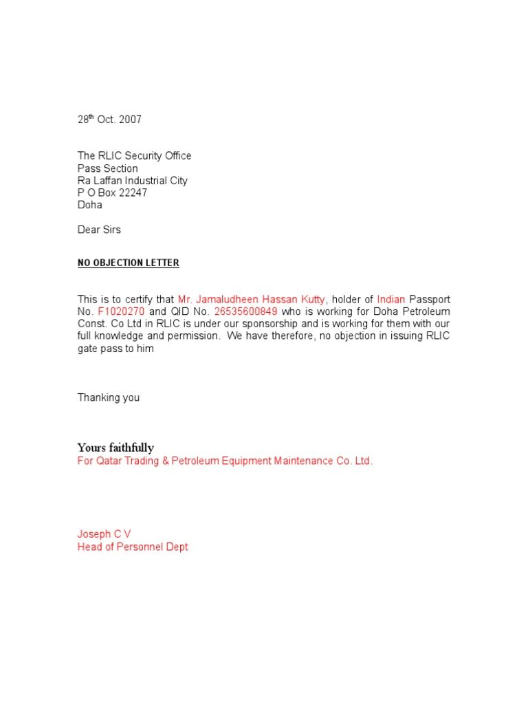No Objection Letter Format Letter Format 2017 – No Objection Letter for Passport