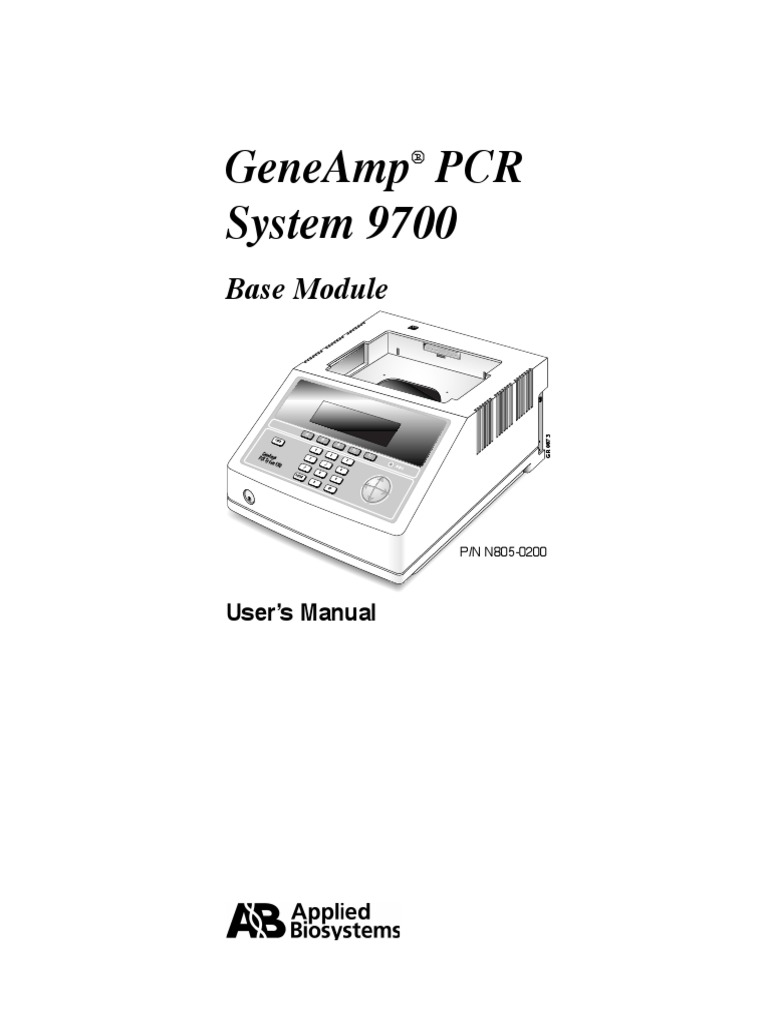 Applied Biosystems GeneAmp 9700 - User Manual   Electromagnetic  Compatibility   Polymerase Chain Reaction