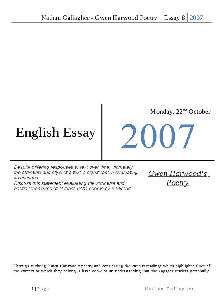 gwen harwood great essay poetry essays