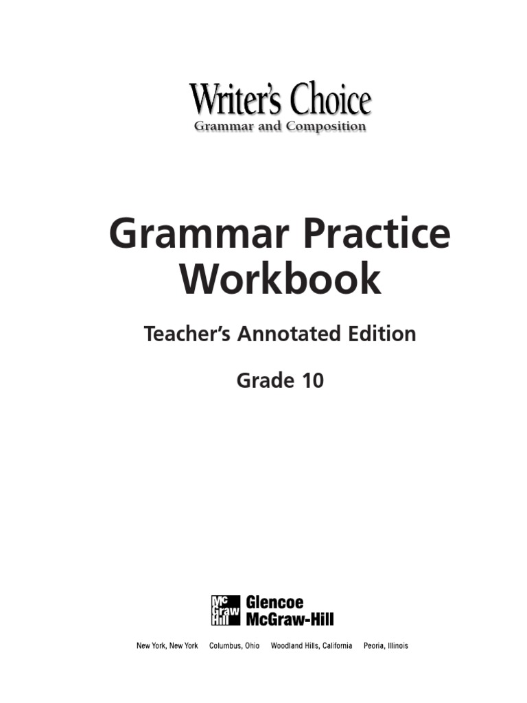 Workbooks glencoe biology workbook : Key Grammar Practice Gr.10 | Adjective | Verb