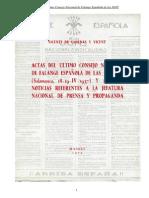 Actas Del Ultimo Consejo Nacional de FE de Las JONS