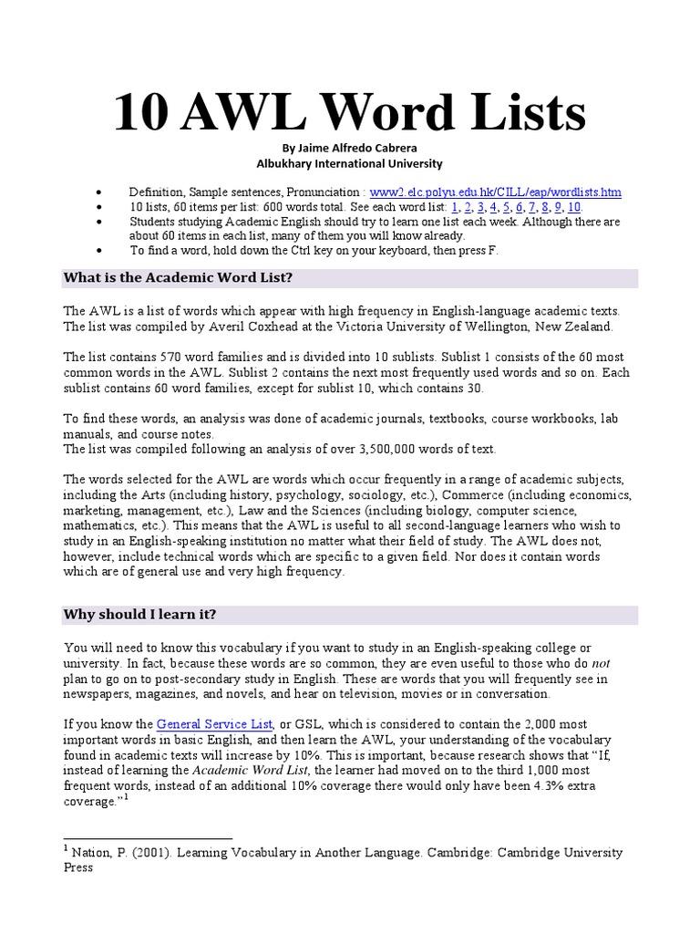 Academic Word List - Student Worksheet 01 | Vocabulary | English