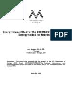 Energy Impact Study of the 2003 IECC and 2009 IECC Energy Codes for Nebraska