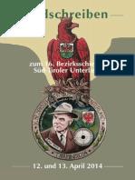 Ladschreiben Bezirksschießen 2014 Süd-Tiroler Unterland