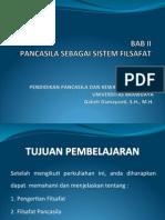 Bab II Pancasila Sebagai Sistem Filsafat