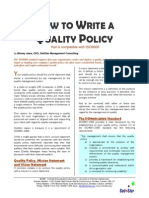Writing a Quality Policy Statement