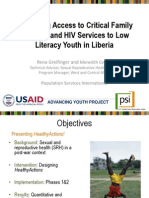 Expanding Access to Critical Family Planning and HIV Services to Low Literacy Youth in Liberia, Rena Greifinger and Meredith Center - Multisectoral Family Planning Links with Non-Health Activities Plenary