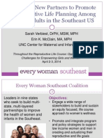 Engaging New Partners to Promote Reproductive Life Planning Among Young Women and Men in the Southeast US, Sarah Verbiest, Erin McClain - Multisectoral Family Planning Links with Non-Health Activities Plenary