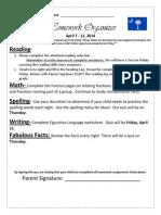 Homework Organizer April 7 - 11