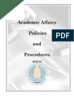 Academic Affairs Policies and Procedures-2012-13