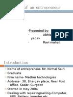 Interview of an Entrepreneur